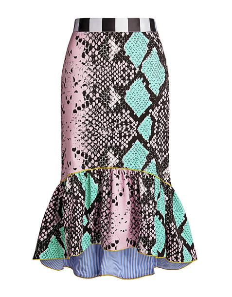 Stella Jean Gonna C Balza Snake Effect Ruffled Mermaid Knee Length Skirt Green Pink