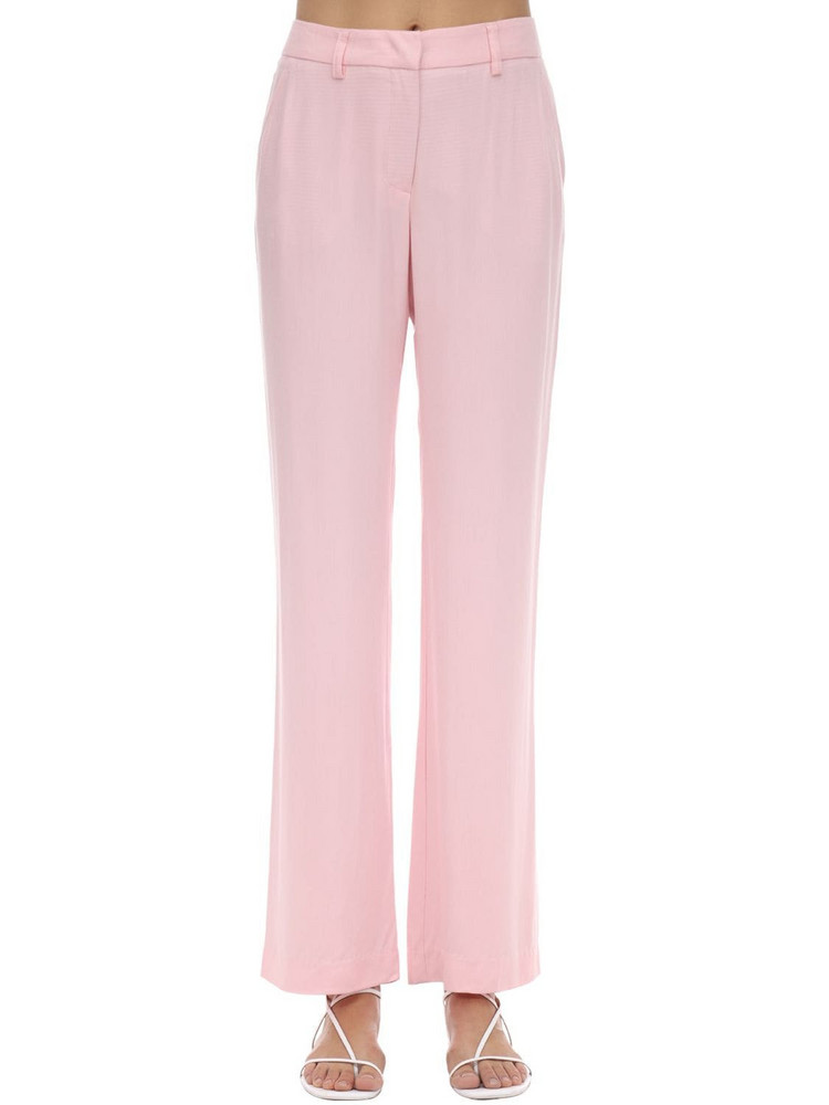 HEBE STUDIO Lover Viscose Blend Straight Leg Pants in pink