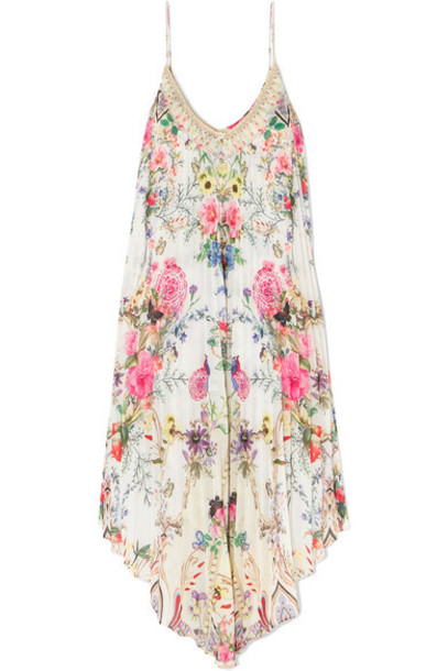 Camilla - Asymmetric Pleated Floral-print Crepe De Chine Dress - White