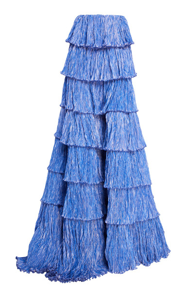Rosie Assoulin Tiered Plissé Ball Skirt in blue