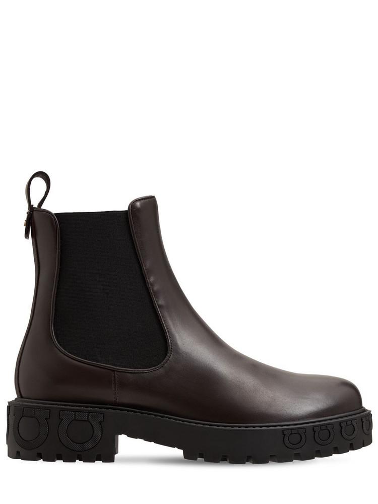 SALVATORE FERRAGAMO 20mm Varsi Leather Combat Boots in brown