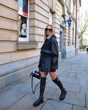 shoes,black boots,over the knee boots,black leather jacket,black shorts,black bag