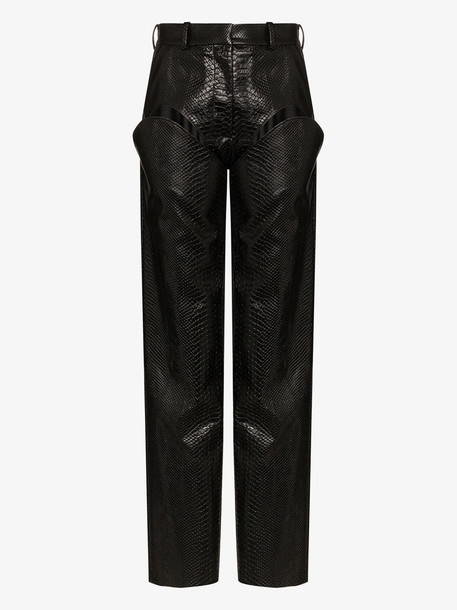 Y/Project cutout detail faux leather trousers in brown