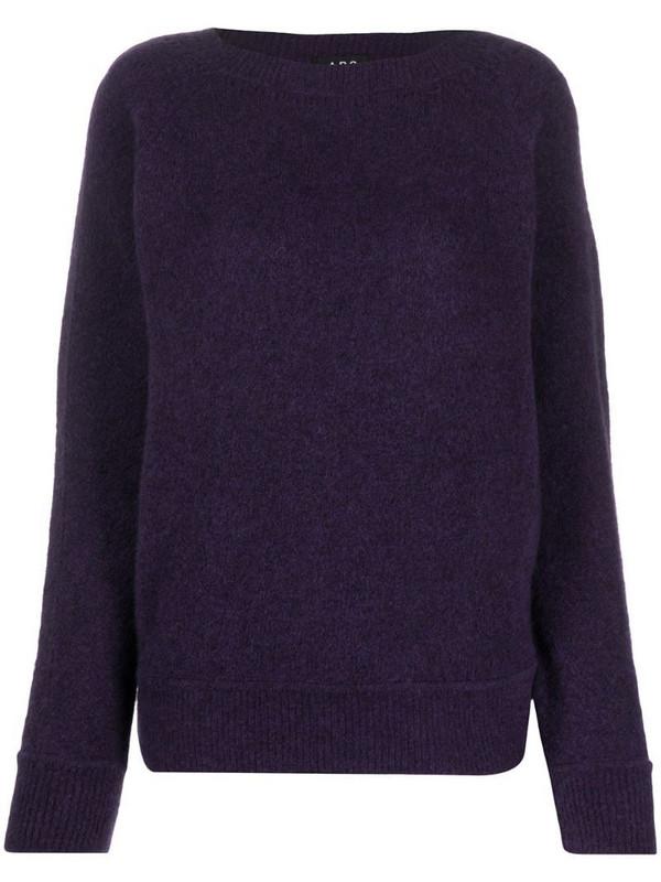 A.P.C. boat neck fine knit jumper in purple