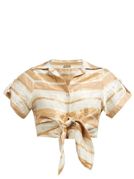 Cult Gaia - Madeline Striped Tie Front Cropped Shirt - Womens - Beige Stripe
