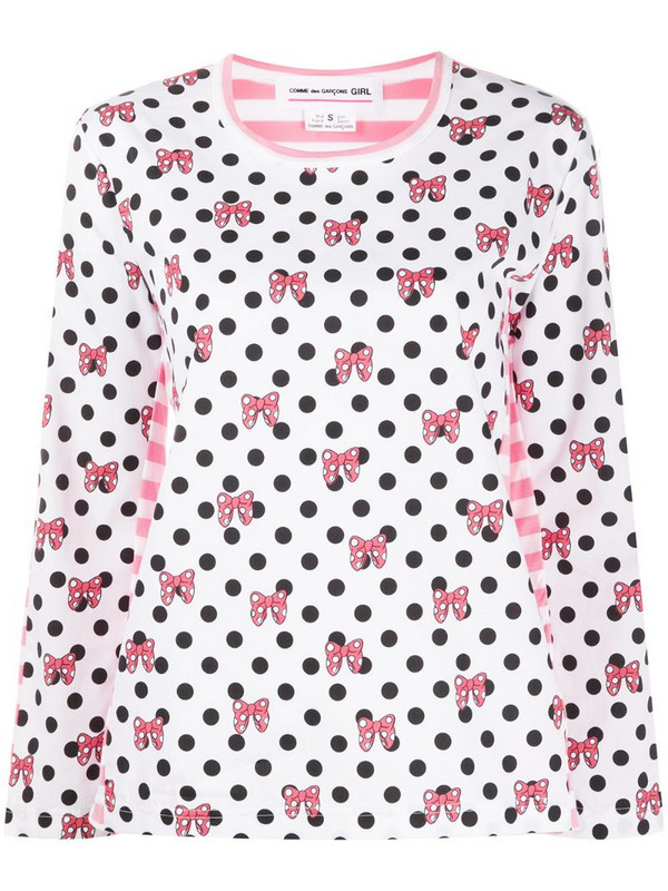 Comme Des Garçons Girl Minnie bow print polka-dot T-shirt in pink / white