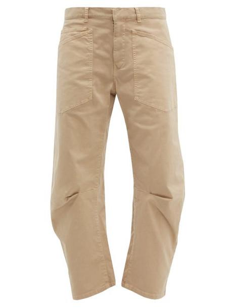 Nili Lotan - Shon Cotton Blend Twill Trousers - Womens - Camel