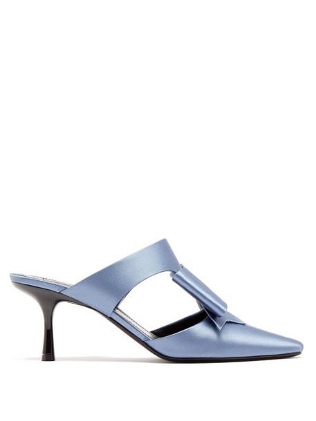 Fabrizio Viti - Gabor Bow Embellished Satin Mules - Womens - Light Blue