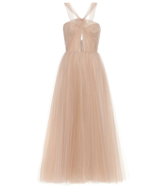 Monique Lhuillier Cameo tulle midi gown in pink