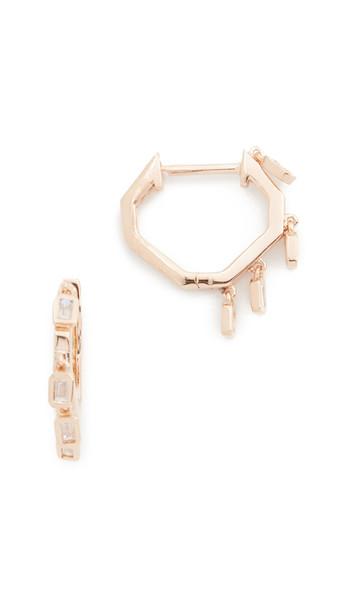 Shay Mini Baguette Drop Huggie Earrings in gold / rose