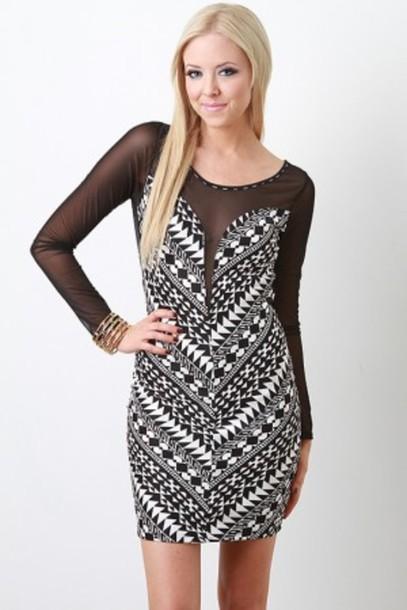 dress black white dress mesh