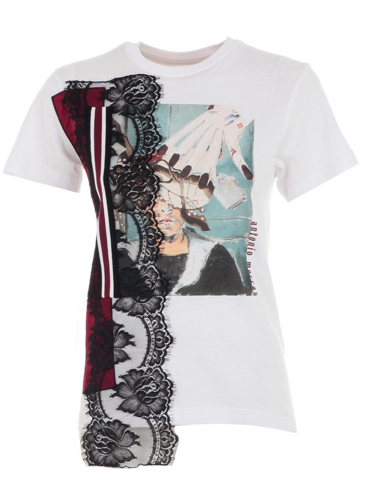 Antonio Marras T-shirt S/s Printed Insert Lace in bianco