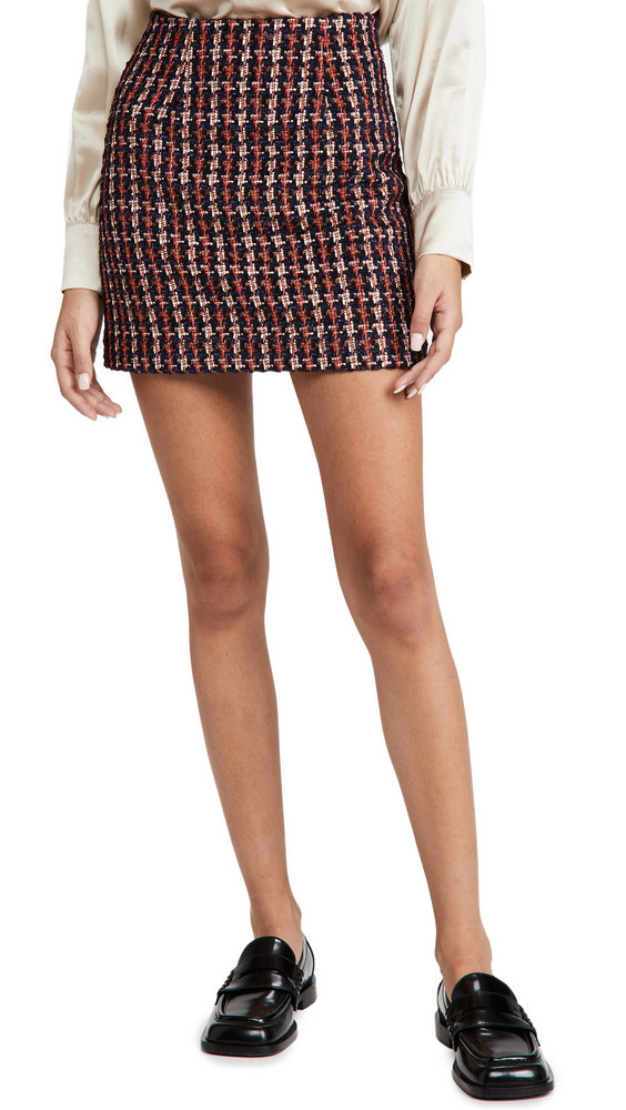 L'AGENCE Livia Mini Skirt in navy / orange