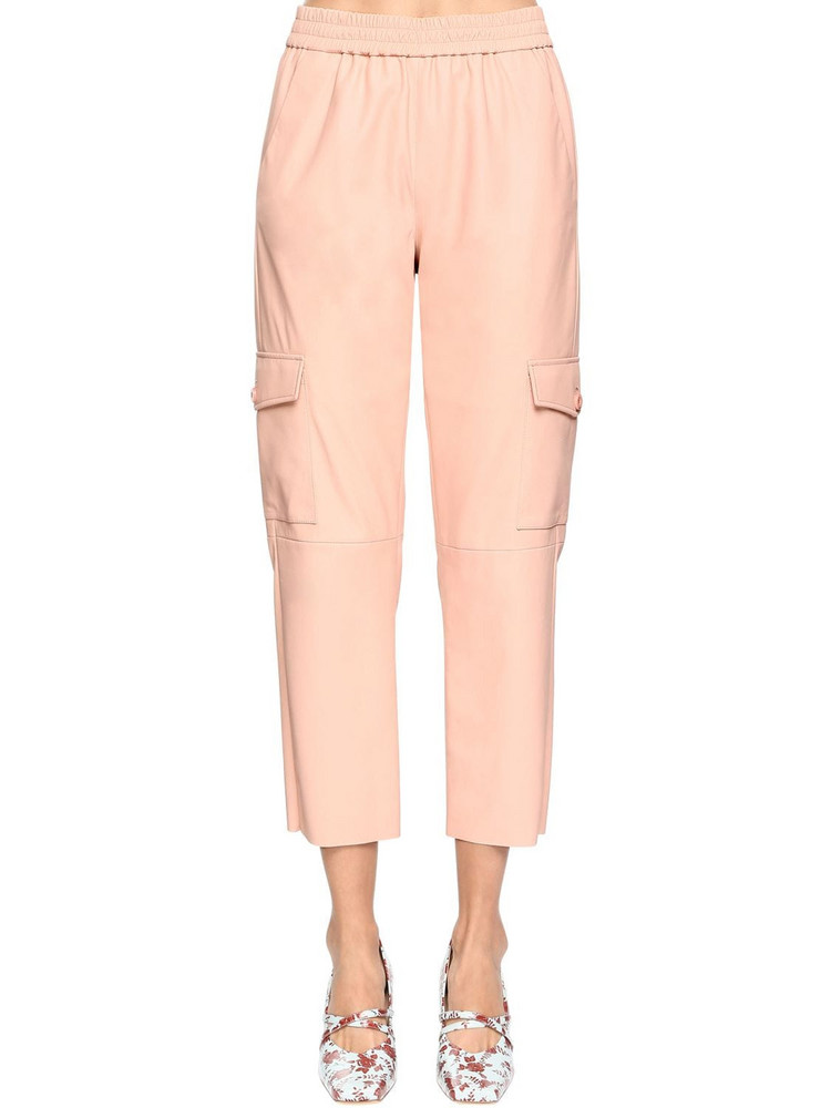 DROME High Waist Leather Cargo Pants in pink