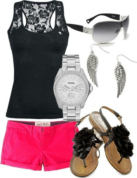 shorts blouse jeans jewels fossil watch sunglasses shirt shoes