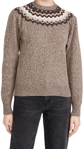 FRAME Fair Isle Crew Sweater in mushroom / multi