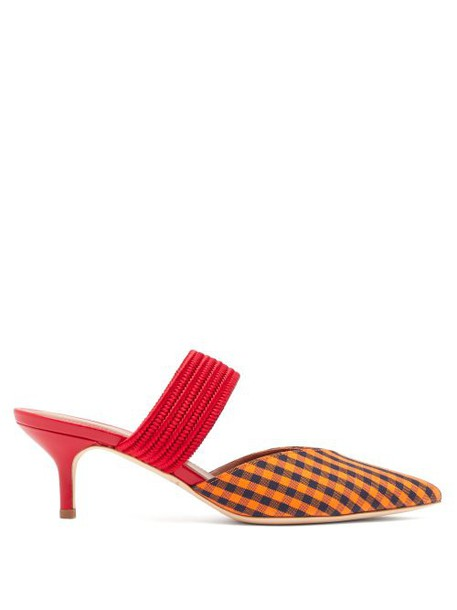Malone Souliers - Maisie Gingham Kitten Heel Mules - Womens - Orange Multi