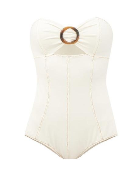 Lisa Marie Fernandez - Ring-front Cutout Strapless Swimsuit - Womens - Cream