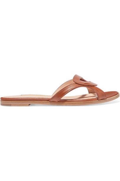 Rupert Sanderson - Maeve Cutout Leather Slides - Chocolate