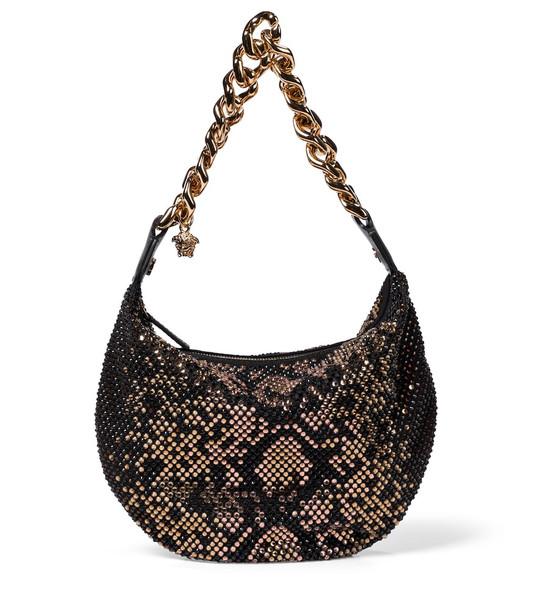 Versace Embellished shoulder bag in black