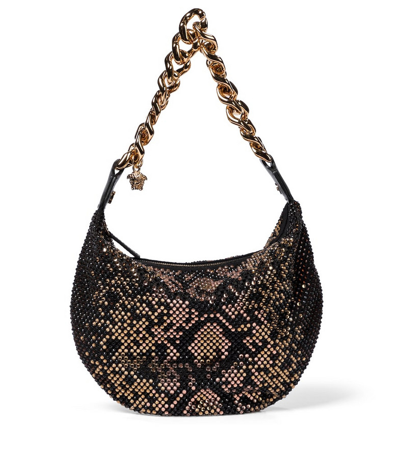 Versace Embellished shoulder bag in black