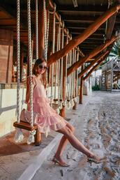 vogue haus,blogger,dress,bag,sunglasses,pink dress,slingbacks