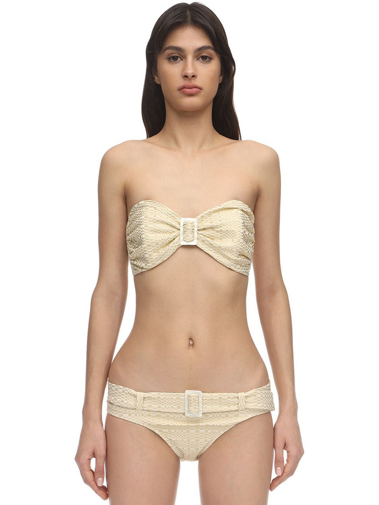 LISA MARIE FERNANDEZ Buckle Bandeau Seersucker Bikini Set in gold / cream