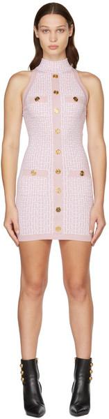Balmain Pink Monogram Glitter Dress in rose