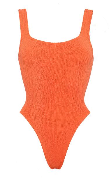 Hunza G Smocked One-Piece Swimsuit in orange