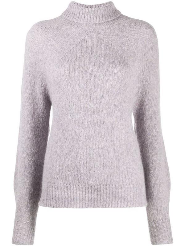 Drumohr roll-neck knit jumper in purple