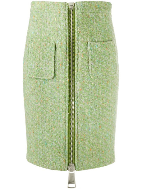 Moschino front zip pencil skirt in green