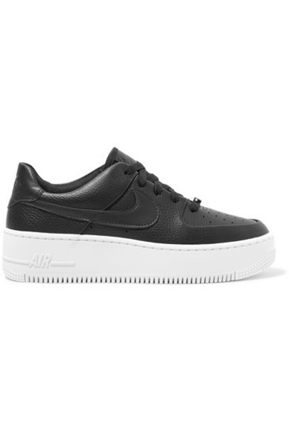 Nike - Air Force 1 Sage Textured-leather Sneakers - Black