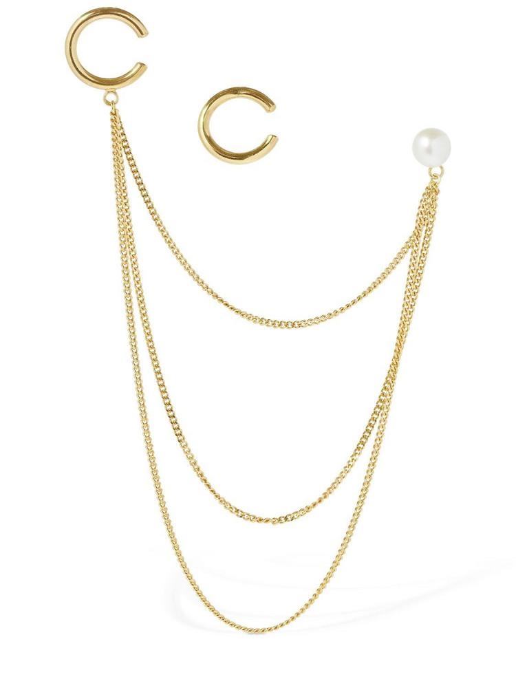 MAGDA BUTRYM Bidens Mismatched Ear Cuffs W/ Pearl in gold