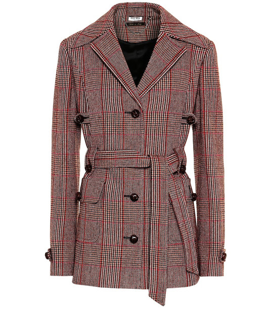Miu Miu Checked wool-blend jacket in red
