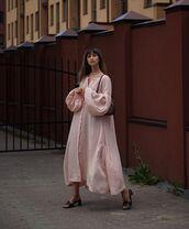 dress,shirt dress,oversized,midi dress,sandal heels,shoulder bag