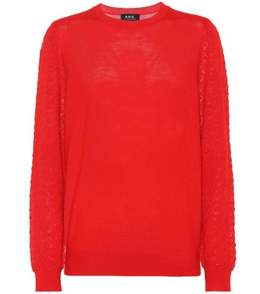 A.P.C. Merino wool-blend sweater in red