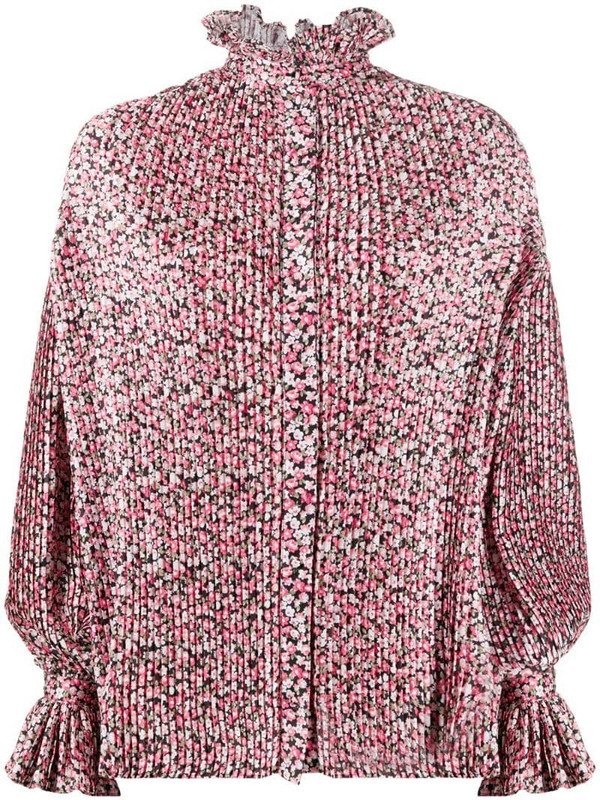 Wandering pleated floral print blouse in black