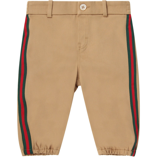 Gucci Beige Babyboy Pants With Orange Logo