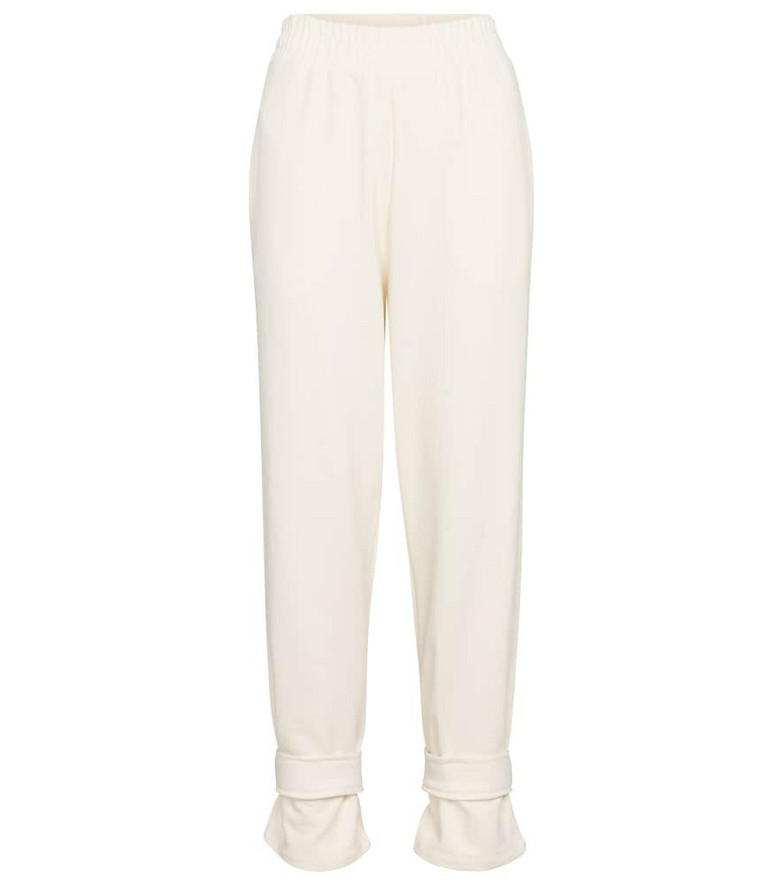 Frankie Shop Cuffed cotton terry sweatpants in white
