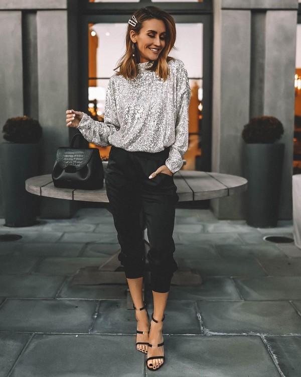sweater turtleneck sequins black pants black sandals