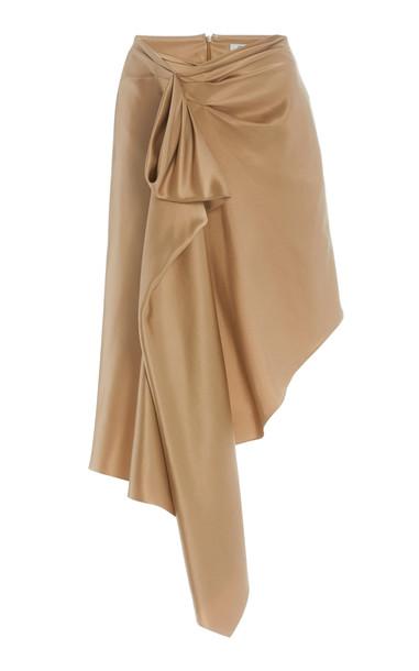 Cushnie Asymmetric Draped Silk Charmeuse Skirt in neutral