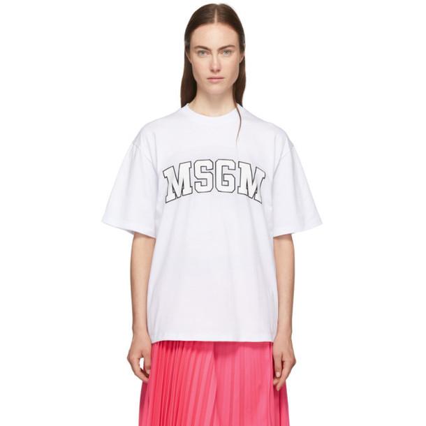 MSGM White College Logo T-Shirt