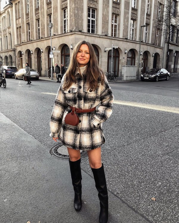 jacket plaid knee high boots black boots belt bag