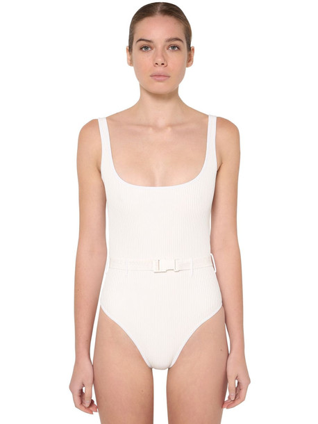 OFF WHITE Belted One Piece Swimsuit in white