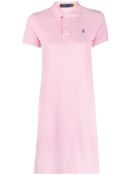 Polo Ralph Lauren embroidered logo minidress in pink