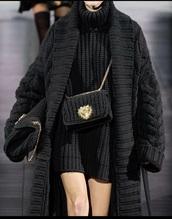 bag,knitted bag,black,gold