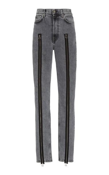 Helmut Lang Femme Hi Spikes Acid-Wash Zip-Detailed Jeans Size: 25 in grey