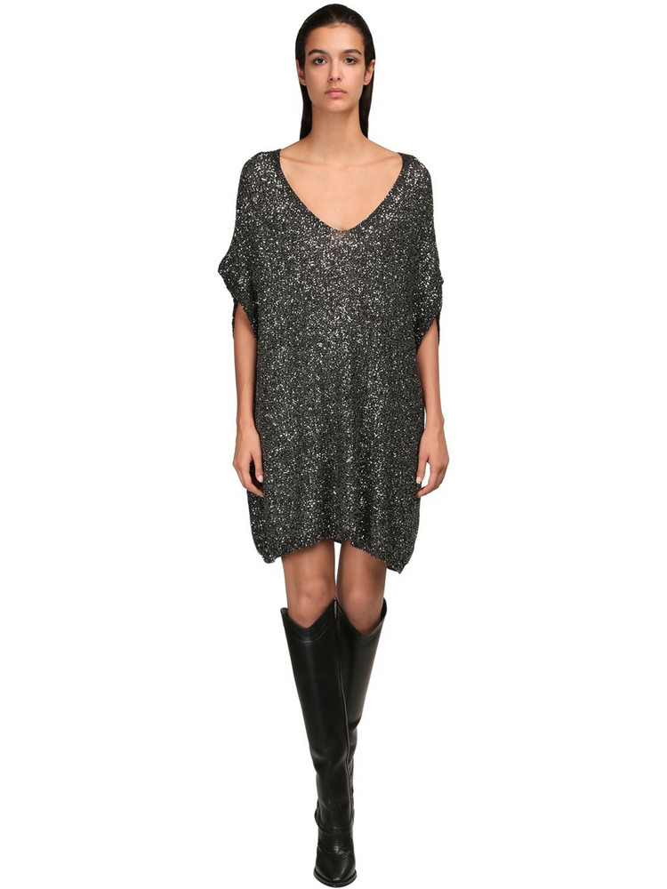 SAINT LAURENT Sequined Knit Mesh Dress in black / silver