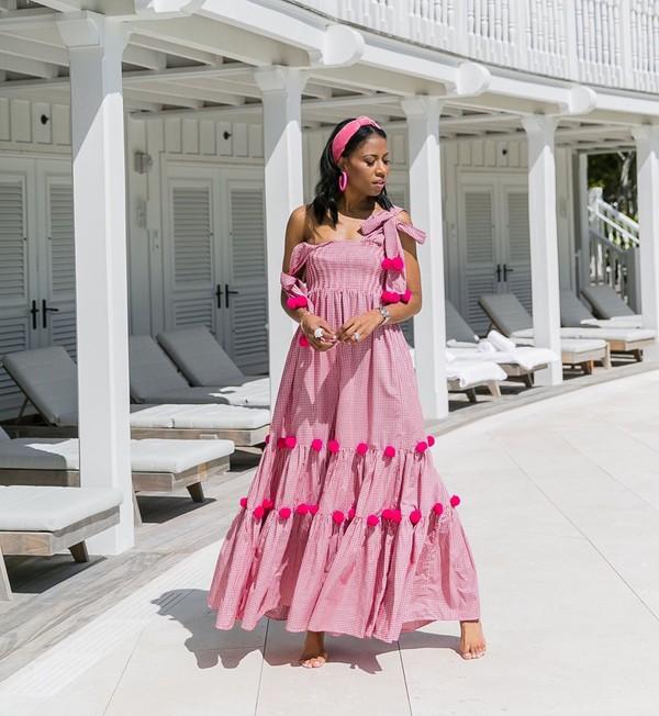 dress maxi dress pink dress sleeveless dress headband