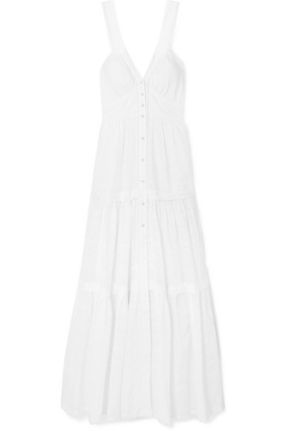 Temperley London - Beaux Lace-trimmed Tiered Swiss-dot Cotton Maxi Dress - White